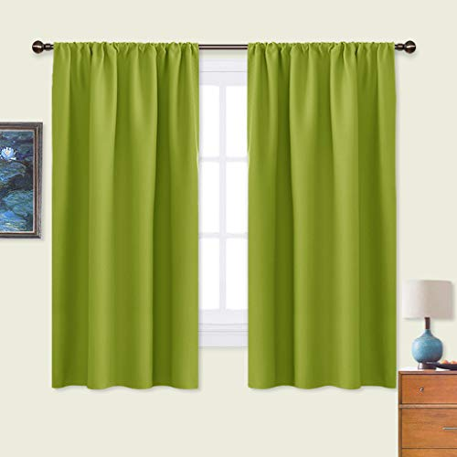 NICETOWN Green Blackout Draperies Curtains - Thermal Insulated Solid Rod Pocket Top Blackout Curtains/Drapes for Kid's Room (1 Pair,42 x 63 Inch, Fresh Green)