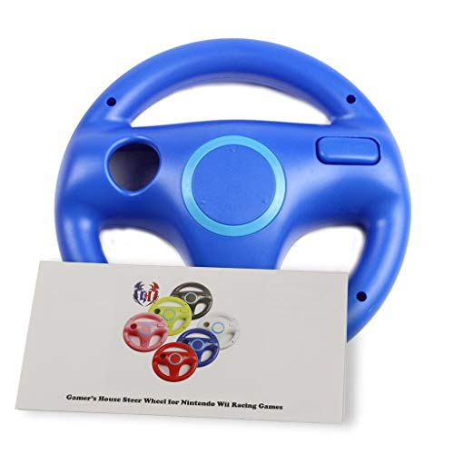 GH Wii Steering Wheel for Mario Kart 8 and Other Nintendo Remote Driving Games, Wii (U) Racing Wheel for Remote Plus Controller - Kinopio Blue (6 Colors Available) ()