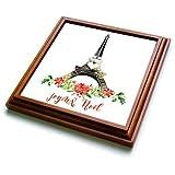 3dRose trv_266627_1 Joyeux Noel Christmas Eiffel Tower Illustration Trivet with Tile, 8'' x 8''