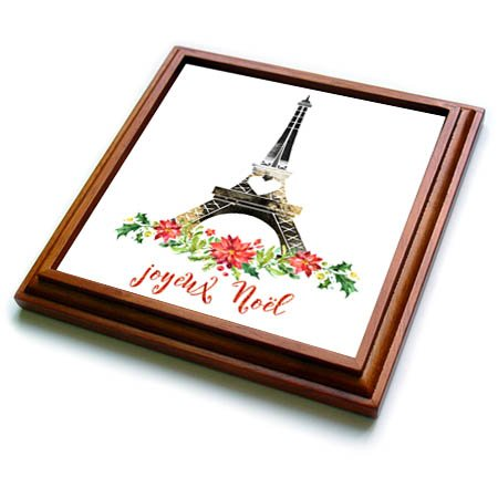 3dRose trv_266627_1 Joyeux Noel Christmas Eiffel Tower Illustration Trivet with Tile, 8'' x 8''