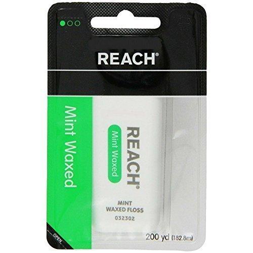 Mint Floss Reach Waxed (Reach Dental Floss, Waxed, Mint, 200 Yard (Pack of 5))