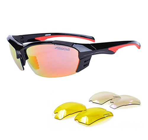 FARROVA KD0173 Sports Sunglasses with 3 Lenses for Cycling, Fishing, Driving, Golf, Running, Shatterproof Flexible TR90 Frame, Black & Red ()