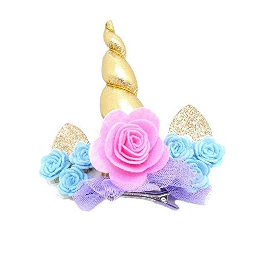BAOBAO Glitter Unicorn Horn Ears Lace Flower Hair
