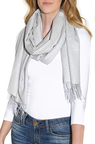 Layers Ladies Chiffon Silk Scarf - Pure Cashmere Blend Pashmina Wrap for Women - Fashion Shawl with Fringe (28 x 74 inches)
