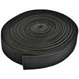 Cosmos ® 1 Inch Wide 10 Yards Black Heavy Polypro Webbing Strap With Cosmos Fastening Strap