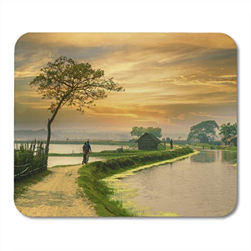 Mouse Pad Green India Village in Bangladesh During Sunset Indian Road Mousepad for Notebooks,Desktop Computers Mouse Mats, Office Supplies