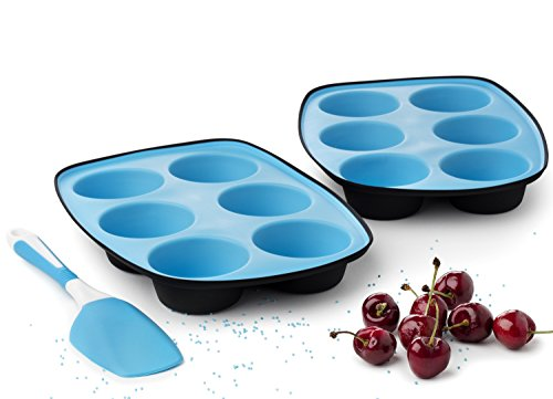 Set of 2 Muffin Pans Baking Tray Black & Blue + Spatula - Cupcake Maker with Thick Silicone