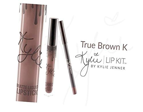 New Female Kylie Jenner Cosmetics Long Lasting Lipstick Lip Gloss Liquid Matte Lip Liner Makeup (True Brown K)