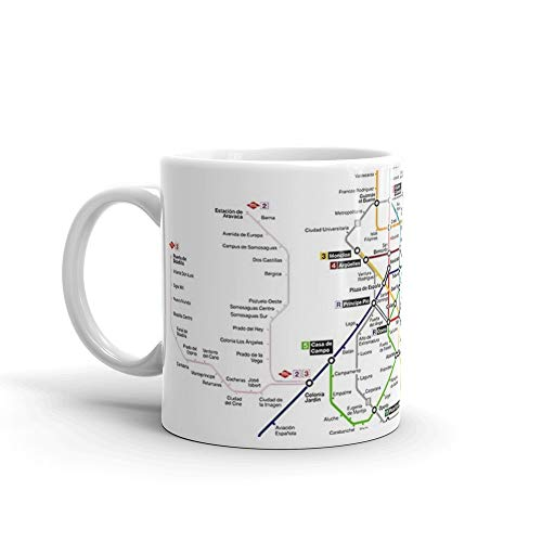 (Madrid Metro Map - Spain - Update 2018 (Paco de Lucia - line 9) 11 Oz White Ceramic)