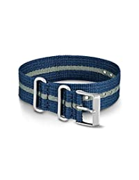 Timex Weekender 20mm Nylon slip-thru Correa, gris, azul (Blue/GrayStripe)