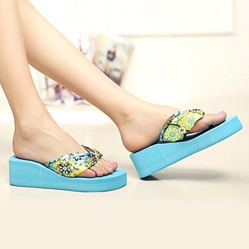 Zapatos De Cuña Academyus Mujeres Summer Zapatillas De Deporte Bohemia Slope Flip Flops Blue