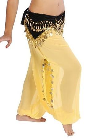 Miss Belly Dance Bellydancer Sarouel en Mousseline de Soie avec Fentes lat/érales Danse de Jeune Fille pour Femme