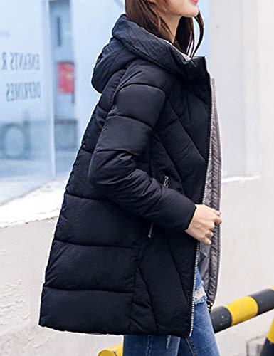 rosso Donna Con Calda Cappuccio Invernale Black Ultraleggeri Nero Besbomig Outwear Parka Piumino Cotone Zip Trapuntato Giacca Bianco 6xwqywdSTY