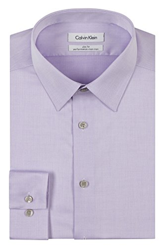 Calvin Klein Men's Dress Shirt Slim Fit Non Iron Herringbone, Lilac, 15
