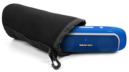 DURAGADGET Jet Black Super-Soft Neoprene Pouch Case in Size Large for AZATOM STORM Powerful Bluetooth 4.0 Speaker