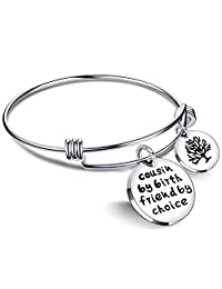 Cousin BBF Bangle Bracelets Best Friend Tree of Life Pendant Gift Cousin by Birth Friends by Choice