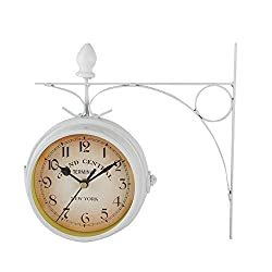 AUNMAS Retro Wall Clocks Double-Side Hanging Clock Metal Iron Mute Clock Living Room Bracket Clock Desktop Home Decoration