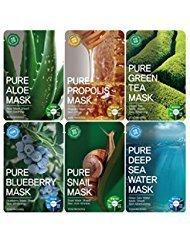 heet 12PCS /Mask pack/Essence Facial Mask Sheet - Aloe/Blueberry/Green tea/Snail/Deep sea water/Propolis (6 Types X 2) ()