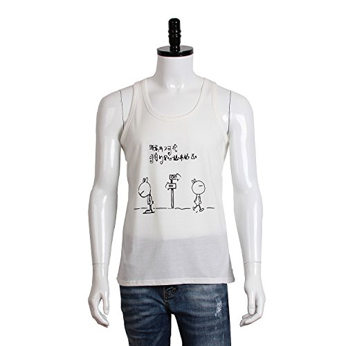 Anime, Vest, Fashion Vest. The Rascal Rabbit, White Cartoon Recreational Vest. Chinese Style Love (M, White)