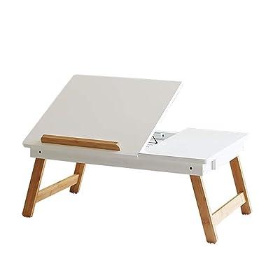 ZHAS Mesa Plegable y Mesa para computadora portátil Dormitorio de bambú Sofá Cama Cama Plegable, Multiusos y sin Herramientas (Oficina, Aprendizaje, Juego) (Color: Blanco): Hogar