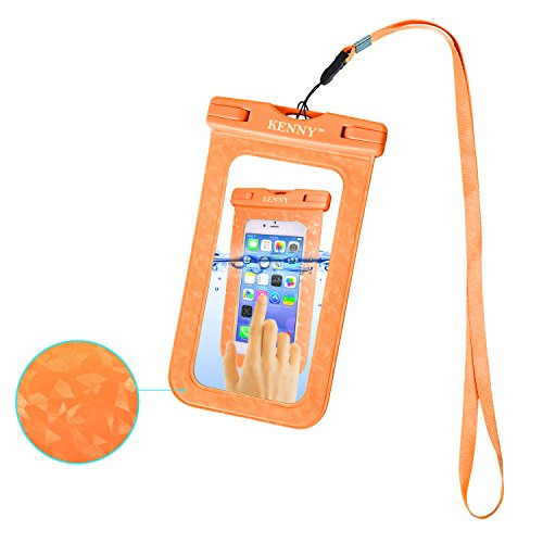 """Waterproof Phone Pouch,Kenny Cell Dry Bag,IPX8 Waterproof Phone Case with Embossed Design for All Smartphones up to 6.0"""" Diagonal Size, with Neck Strap, for Water Park Activities (003-orange)"""