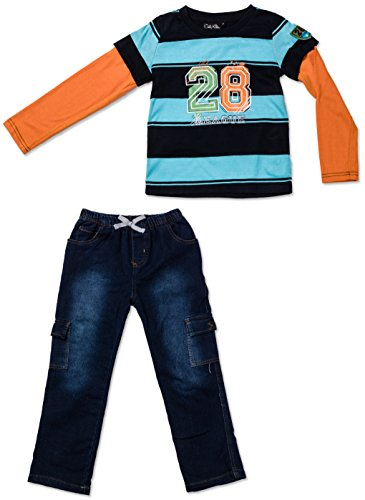 Only Kids Baby Boys Two Piece Stripe Team Tee and Pants Set 12 Mo