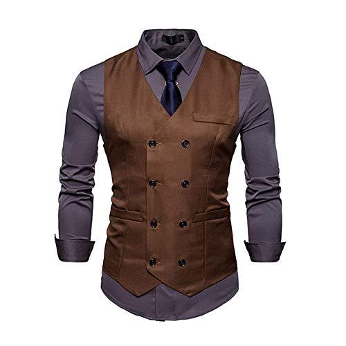 A Vest Slim Scollo Coffee Da Giacca Gilet Fit Smart Uomo Suit Sportiva Business Con Giovane Solenne Top V mwvNnO80
