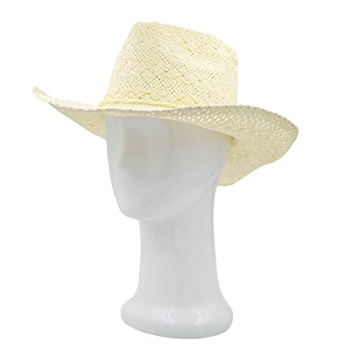 (Premium Solid Color Lace Braided Straw Cowgirl Cowboy Hat, Cream)