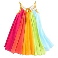 Fabal Summer Girls Beach Rainbow Dress Girls Sleeveless Sling Perform Party Dress (5T, Multicolor)