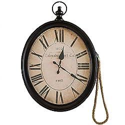 YNFNGXU Vintage Nostalgic Wall Clock 20 Inch Oval Creative Wrought Iron Living Room Dining Room Bedroom Wall Decoration