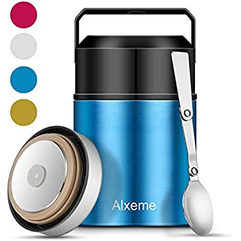 Soup Thermos Food Jar for Hot Food Wide Mouth Alxeme 27 oz Insulated Lunch Containers Stainless Steel Vacuum Thermal Bento Lunch Box with Folding Spoon Flexible Handle Leak Proof Food Flask - Blue