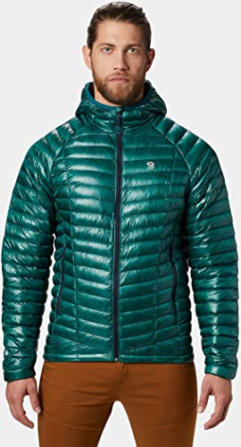 Mountain Hardwear Mens Ghost Whisperer Insulated Down Water Repellent Jacket with Hood - Dive - M ()