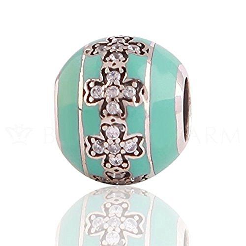 The Kiss Cross Religion Christian Jesus 925 Sterling Silver Bead Fits European Charm Bracelet (Cross with Clear Cz Green - Green Cross Enamel