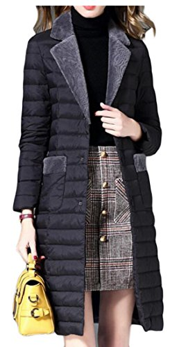 Puffer amp;W amp;S Down Coats Packable Women's Lightweight Black M Lapel Casual Jacket 6zq65w