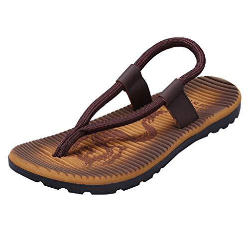 HOSOME Men's Casual Flat Flip Flops Slippers Beach Sandals Outdoor Skid Shoes Khaki
