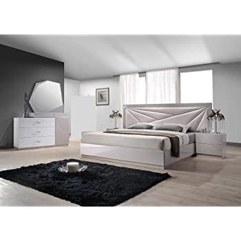 Ju0026M Furniture Florence White U0026 Taupe Lacquer Queen Platform Bedroom Set