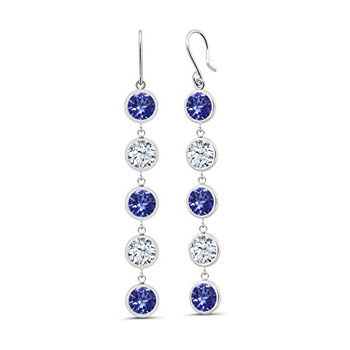 4.50 Ct Round Blue Tanzanite White Topaz 925 Sterling Silver Earrings by Gem Stone King