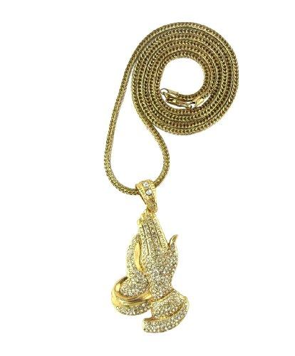 Iced Out Gold Praying Hands Pendant Piece w/ 30
