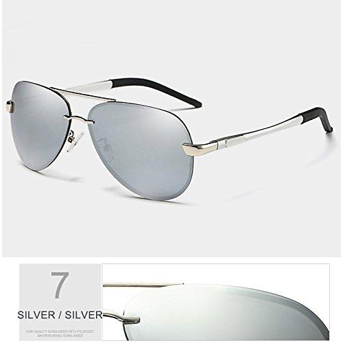 visibilidad SILVER semi aviador SILVER gafas lente reborde hombre fresco de Guía máxima TL sol polarizadas gafas Sunglasses verde Anti Riflettente negro w7CRESq
