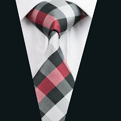Black Plaid Silk Men's Tie CAOFENVOO Red Check Necktie YvPAvxw