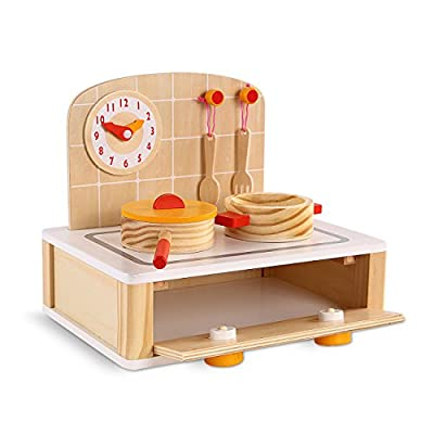 Wooden Kids Kitchen Toy, Pretend Play Kitchen for Toddlers(7 PCs)