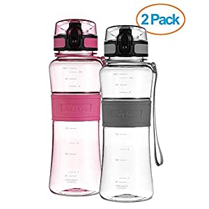 Swig Savvy Bottles 18 oz Triton Water Bottle Eco Friendly & BPA-Free Leak Free One-Click Flip Top open Ideal For Sports Yoga Camping Biking & Jogging (Pink/gray)
