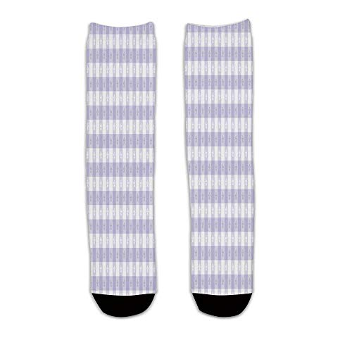YOLIYANA Lavender Stylish Knee Length Socks,Pastel Colored Classic Gingham Check Pattern with Delicate Small Blossoms Decorative for Men Women,S