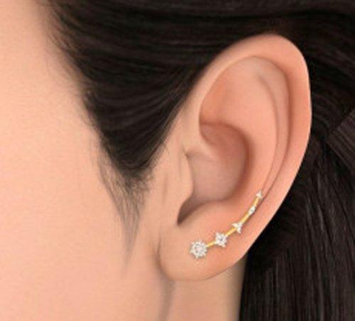 Or jaune 18K 0,48CT TW White-diamond (IJ   SI) Boucles d'oreille à tige