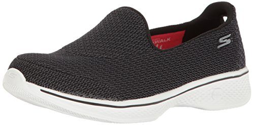 Donna Nero Black Skechers Walk 4 White Allenatori Go qBOaR6