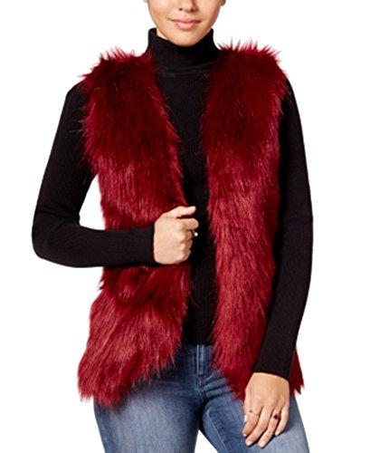 Hippie Rose Juniors' Faux-Fur Sweater Vest (Burgundy, L)