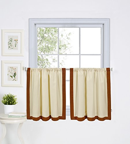 Elrene Home Fashions 026865775518 Mitered Border Rod Pocket Kitchen/Cafe Tier Window Curtain, Set of 2, 30