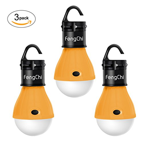 LED Camping Lantern, FengChi[3 PACK] Portable Outdoor Tent Light Emergency Light Bulb for Camping, Hiking, Fishing,Hurricane, Storm, Outage (Camp Tent)