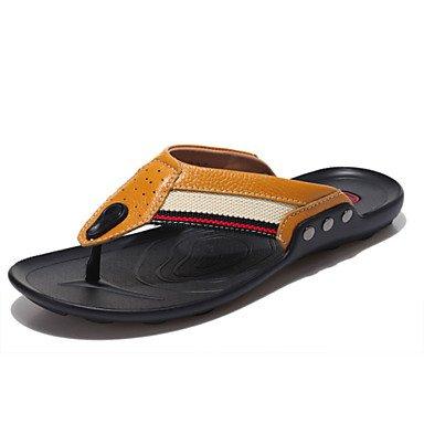 Sandalias de verano zapatos de hombre casual Zapatillas de cuero marrón/amarillo/azul/naranja. Blanco