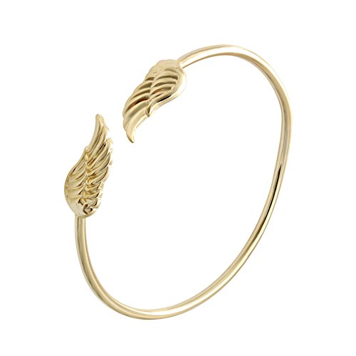 SENFAI Two Colors Supernatural Protection Angel Wing Adjustable Love Bangles Women Girl Copper Barcelets Gifts (Gold)